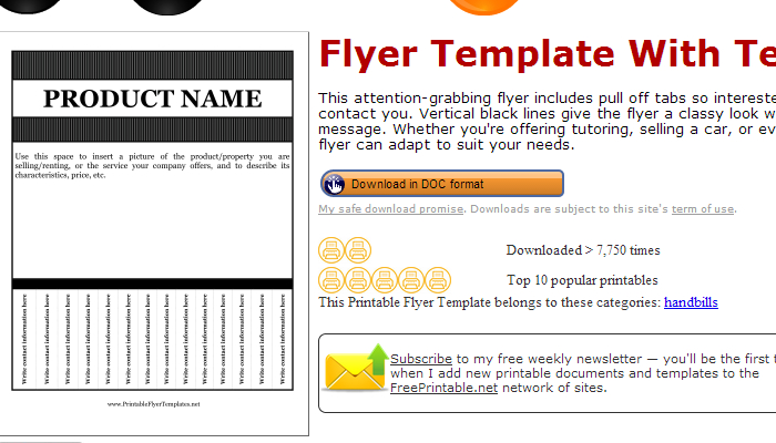 template for flyer with pull tabs