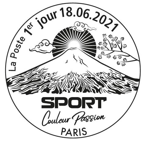 Cachet 1er jour d'émission bloc timbres sports jaune 2021