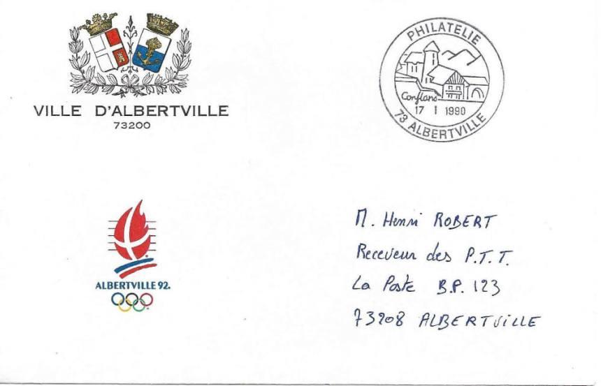 Albertville 1992 Enveloppe Mairie logo