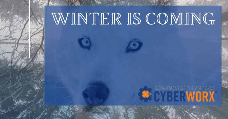 mage of a white wolf and trees, the project name, and CyberWorx logo