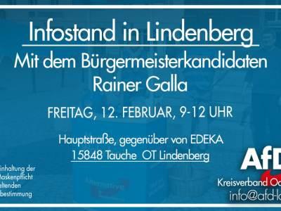 Infostand am Freitag, dem 12. Februar in Tauche OT Lindenberg