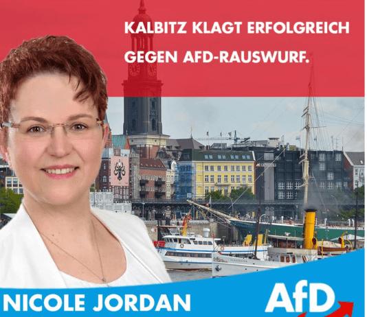 Screenshot Facebook: Nicole Jordan unterstützt den gegen seinen Ausschluss kämpfenden Rechtsextremisten Andreas Kalbitz