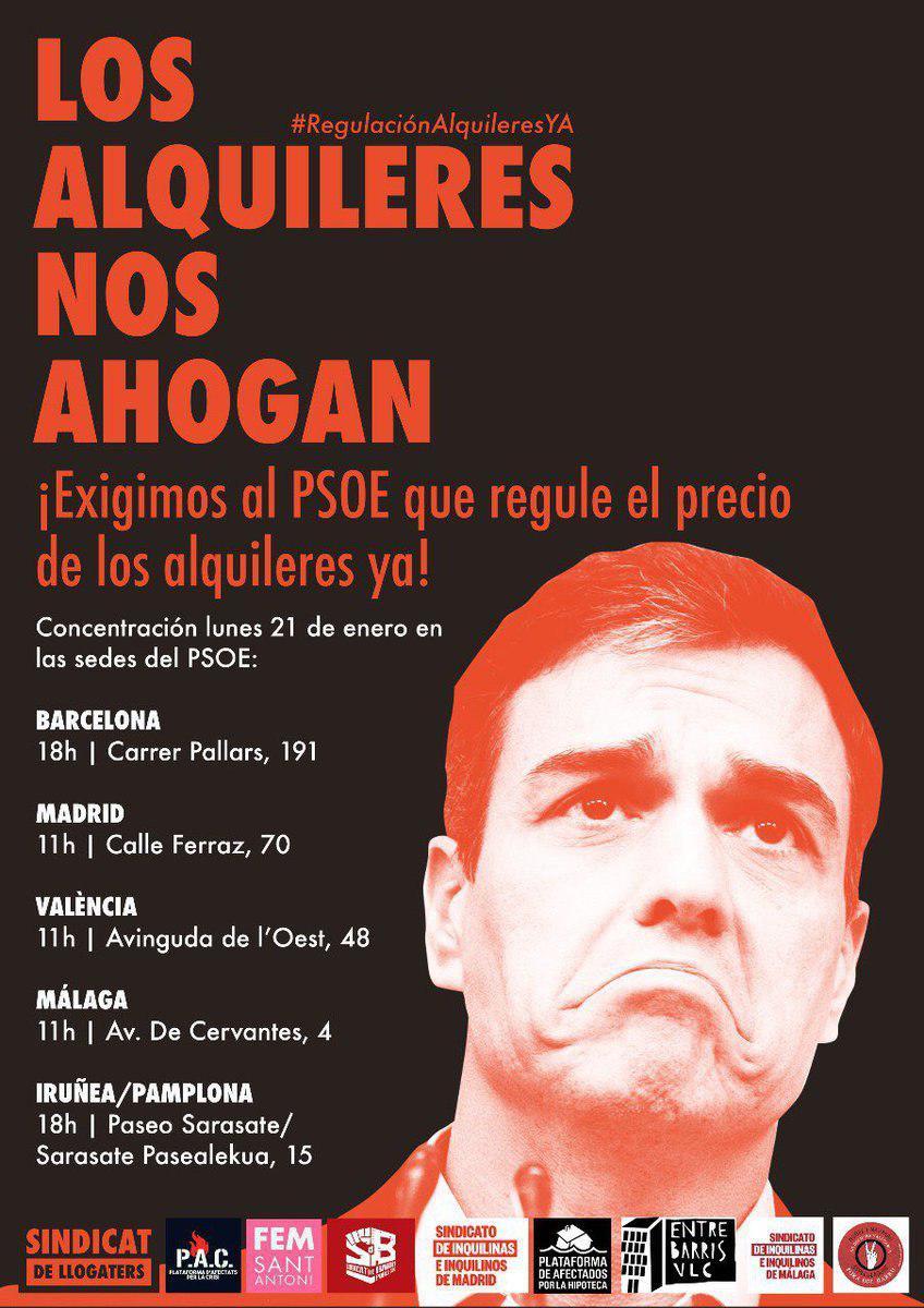 El alquiler nos ahoga y PSOE pretende que lo siga haciendo