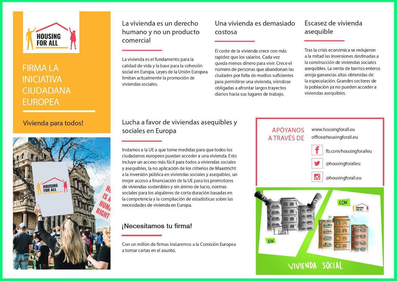 """Se lanza la Iniciativa Ciudadana Europea """"Housing For All"""""""