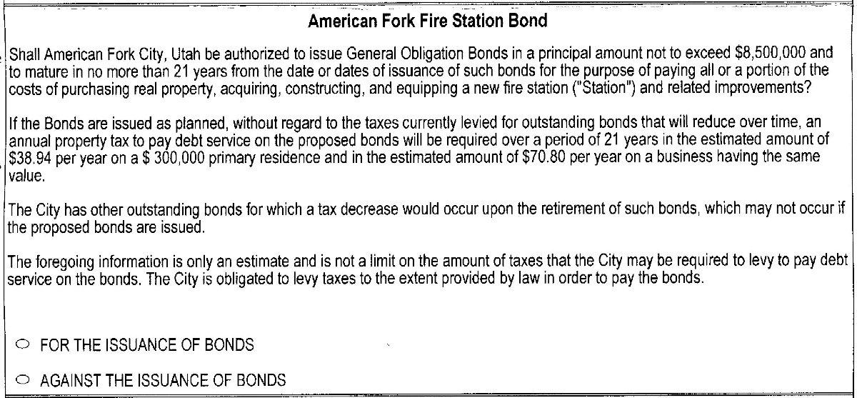2019 American Fork ballot - fire station bond