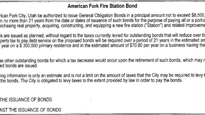 2019 American Fork ballot - fire station bond
