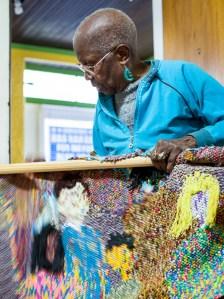 Grauer sharing her textile art