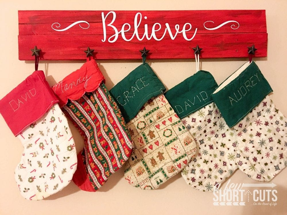 Diy Christmas Stocking Hanger Sign A Few Shortcuts