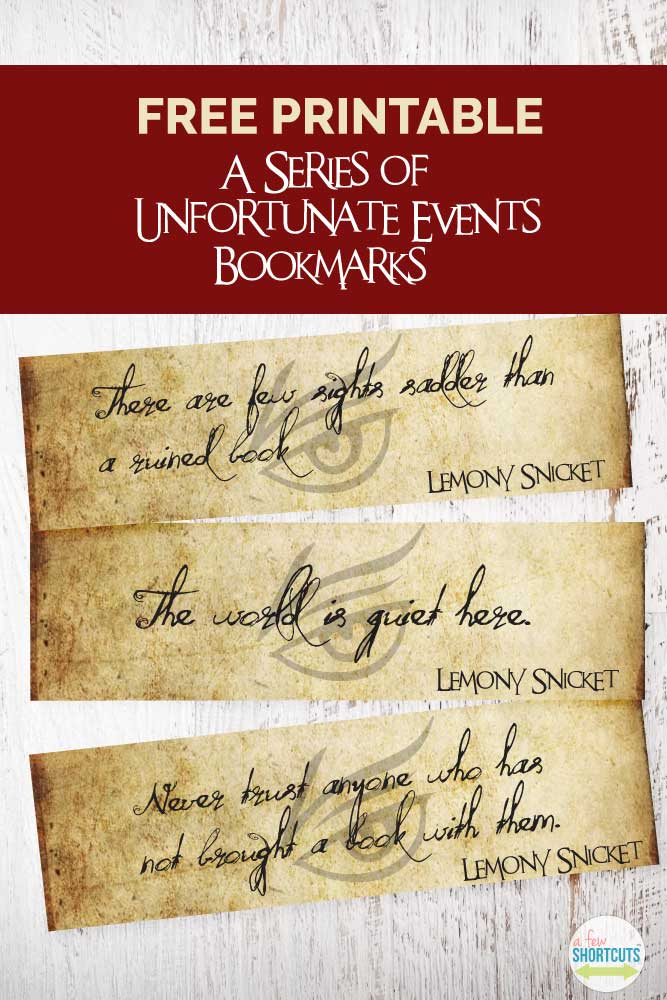 Free A Series Of Unfortunate Events Printable Bookmarks
