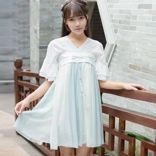 Nuwa Hanfu Set: Short-Sleeve A-line Dress + Belt