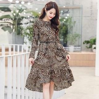 Tanzil Long-Sleeve Printed Dip Back Chiffon Dress
