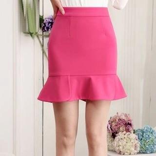 Yipin Frill Hem Pencil Skirt
