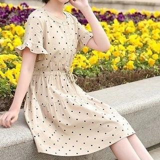 YICON Polka Dot Short-Sleeve A-Line Dress