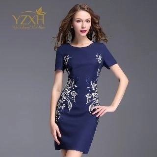 Ameous Short-Sleeve Embroidery Sheath Dress