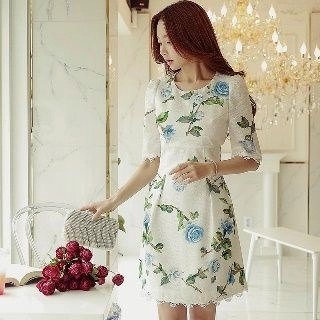Dabuwawa Short-Sleeve Printed Dress