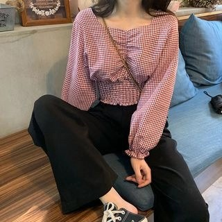 CosmoCorner Check Square-Neck Long-Sleeve Blouse