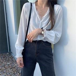 CosmoCorner Lace V-Neck Long-Sleeve Blouse White - One Size