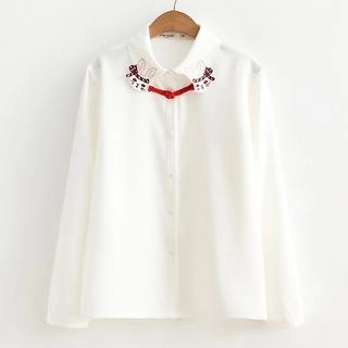 Suzette Long-Sleeve Rabbit Embroidered Blouse