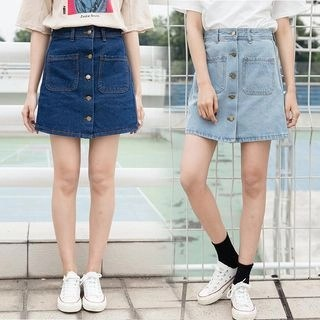 Denimot Buttoned A-Line Denim Skirt