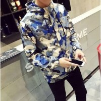 Kieran Hooded Camo Jacket Sky Blue