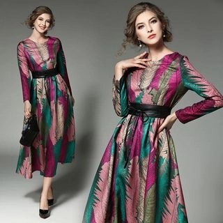 Allury Jacquard A-Line Midi Dress