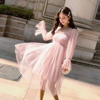 Tanzil Long-Sleeve Sequined A-Line Mesh Dress