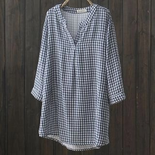 Suzette 3/4-Sleeve Gingham Blouse Blue - One Size
