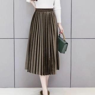 Yipin Velvet Pleated Midi Skirt