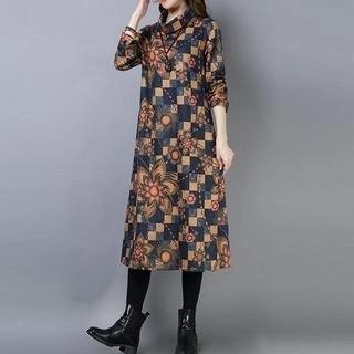 Diosa Long-Sleeve Patterned Midi Dress