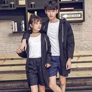 Rampo Couple Matching Hooded Long Jacket Gray