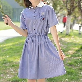 YICON Cat Embroidered Short-Sleeve Striped Shirtdress Blue - M