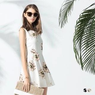 V-Neck Sleeveless Floral Printed Dress