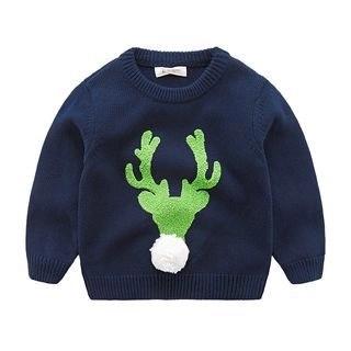 DEARIE Kids Pompom Deer Patterned Sweater N/A