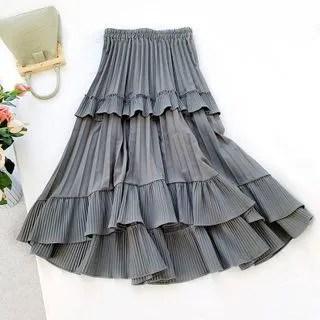 englard Asymmetric Layered Pleated Skirt