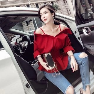 Nancho Off-Shoulder Ruffle Trim Blouse Red - One Size