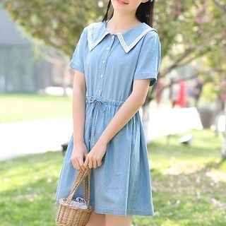 YICON Short-Sleeve Collared A-Line Mini Dress