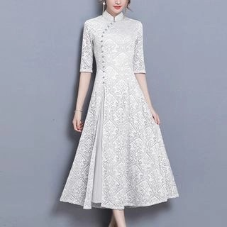 Diosa Elbow-Sleeve Lace Midi A-Line Qipao Dress
