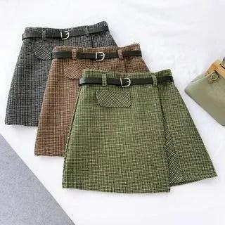 englard Plaid High-Waist A-Line Skirt