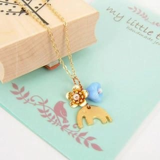 Golden Little Elephant and Flowers Necklace