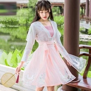 Nuwa Hanfu Set: Long-Sleeve Top + A-line Skirt + Camisole Top