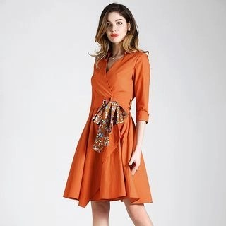 BUDELLY Elbow-Sleeve Tie-Front A-Line Dress
