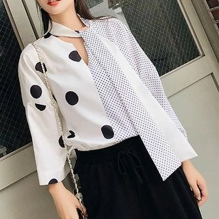 Fashion Street V-Neck Dotted Blouse