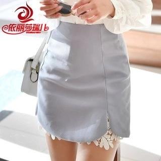 Elisa Rachel Lace Trim A-line Skirt