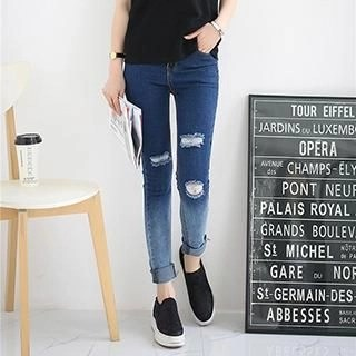 Washed Distressed Skinny Jeans