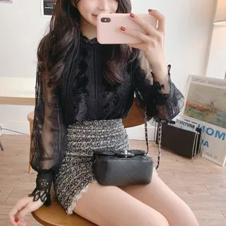 Tangihouse Lace Long-Sleeve Blouse