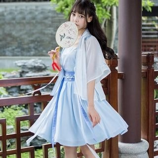Nuwa Hanfu Set: Elbow-Sleeve Light Jacket + Camisole Top + A-line Skirt