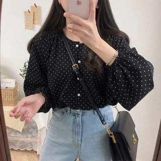 Tangihouse Dotted 3/4-Sleeve Blouse