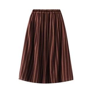 SILHO Striped A-Line Midi Skirt