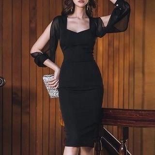 Aurora 3/4-Sleeve Cold-Shoulder Sheath Cocktail Dress