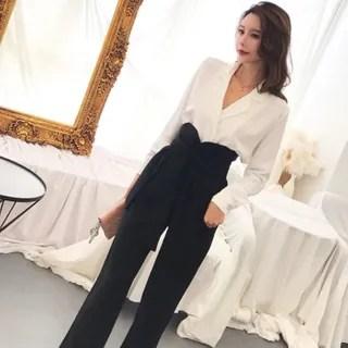 Nancho Long-Sleeve Plain Blouse + High-Waist Pants
